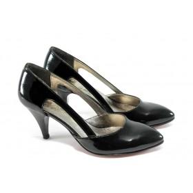 Дамски обувки на висок ток - еко кожа-лак - черни - EO-4353