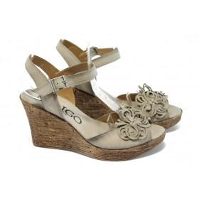 Дамски сандали - естествен набук - бежови - EO-4413