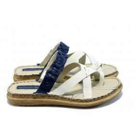 Дамски чехли - естествена кожа - бели - EO-4374