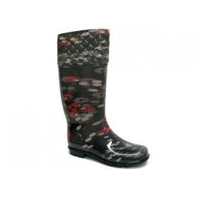 Дамски ботуши - висококачествен pvc материал - черни - EO-5381