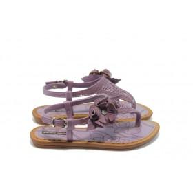 Детски сандали - висококачествен pvc материал и текстил - лилави - EO-4515