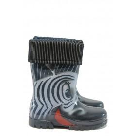 Детски ботуши - висококачествен pvc материал - черни - МА 0039 зебра