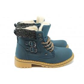 Детски ботуши - висококачествена еко-кожа - сини - EO-5630