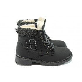 Детски ботуши - висококачествена еко-кожа - черни - EO-5631