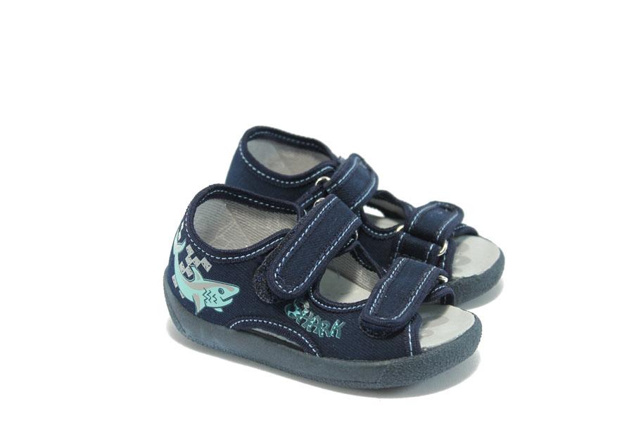 Детски сандали - висококачествен текстилен материал - сини - EO-4410