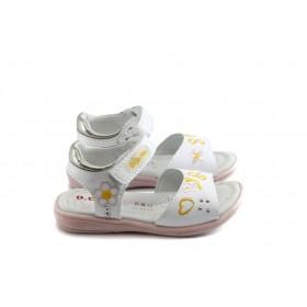 Детски сандали - естествена кожа - бели - EO-3759