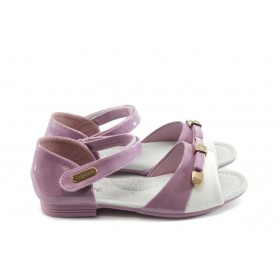 Детски сандали - естествена кожа-лак - розови - EO-3926