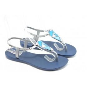 Дамски сандали - висококачествен pvc материал - сини - EO-3982