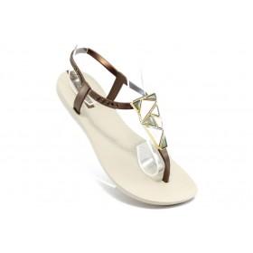 Дамски сандали - висококачествен pvc материал - бежови - EO-3992