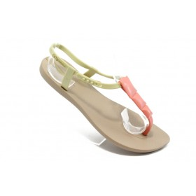 Дамски сандали - висококачествен pvc материал - бежови - EO-3983