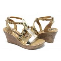 Дамски сандали - висококачествен pvc материал - кафяви - EO-3984