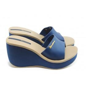 Дамски чехли - висококачествен pvc материал - сини - EO-3978