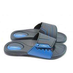 Мъжки чехли - висококачествен pvc материал - сини - EO-3888