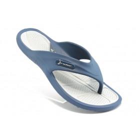 Мъжки чехли - висококачествен pvc материал - сини - EO-4024
