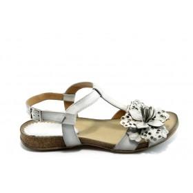 Дамски сандали - естествена кожа - бели - EO-4071
