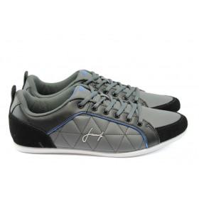 Спортни мъжки обувки - висококачествена еко-кожа - сиви - EO-4760