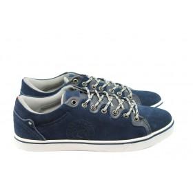 Спортни мъжки обувки - естествен велур - сини - EO-4762