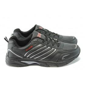 Мъжки маратонки - висококачествена еко-кожа - черни - EO-8124