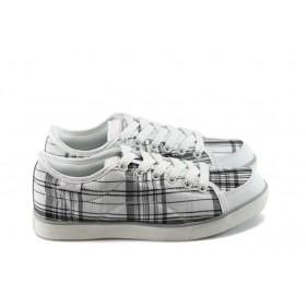 Юношески маратонки - висококачествен текстилен материал - бели - EO-4844