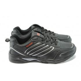 Юношески маратонки - висококачествена еко-кожа - черни - EO-5954