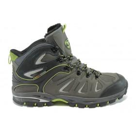 Спортни мъжки обувки - естествена кожа - сиви - EO-4756
