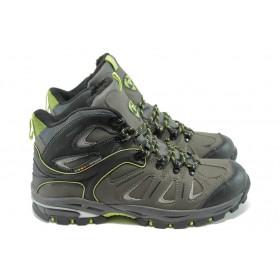 Спортни мъжки обувки - естествена кожа - сиви - EO-4886