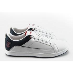 Спортни мъжки обувки - висококачествена еко-кожа - бели - EO-4839