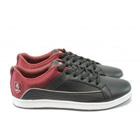 Спортни мъжки обувки - висококачествена еко-кожа - черни - EO-4891