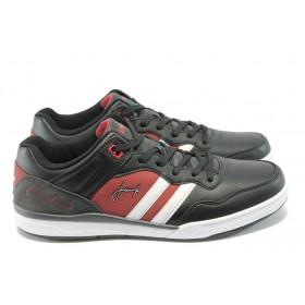 Спортни мъжки обувки - висококачествена еко-кожа - черни - EO-4892