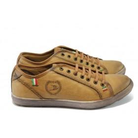 Спортни мъжки обувки - висококачествена еко-кожа - светлокафяв - EO-4889