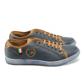 Спортни мъжки обувки - висококачествена еко-кожа - сини - EO-4894
