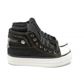 Дамски обувки на платформа - висококачествен текстилен материал - черни - EO-4937