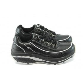 Юношески маратонки - висококачествена еко-кожа - черни - EO-4983