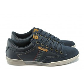 Спортни мъжки обувки - естествен велур - сини - EO-4991
