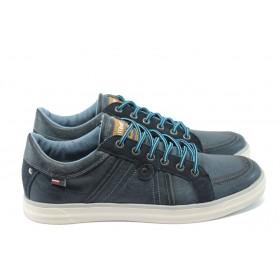 Спортни мъжки обувки - естествен велур - сини - EO-4893