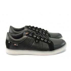 Спортни мъжки обувки - естествен велур - черни - EO-4992