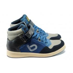 Спортни мъжки обувки - естествен велур - сини - EO-4989