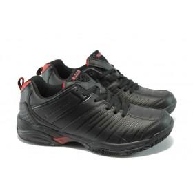 Спортни мъжки обувки - висококачествена еко-кожа - черни - EO-5651