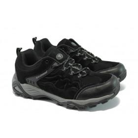 Спортни мъжки обувки - естествена кожа - черни - EO-5652