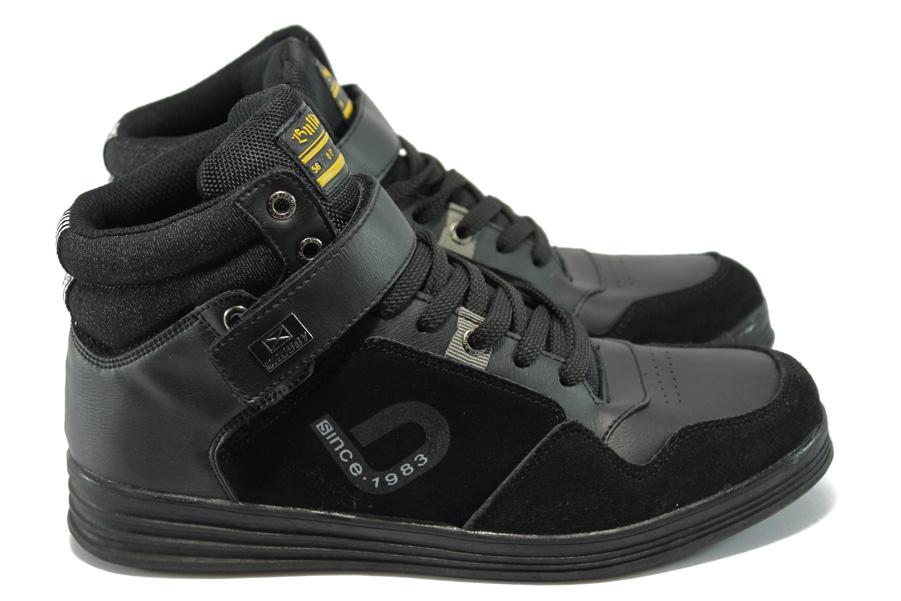Спортни мъжки обувки - висококачествена еко-кожа - черни - EO-5649