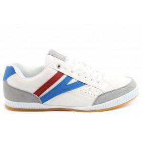 Спортни мъжки обувки - висококачествена еко-кожа - бели - EO-3236