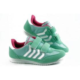 Детски маратонки - еко-кожа с текстил - зелени - EO-3284