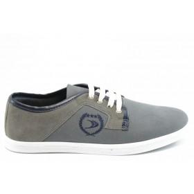 Спортни мъжки обувки - висококачествен текстилен материал - сиви - EO-2041