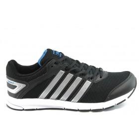 Спортни мъжки обувки - еко-кожа с текстил - черни - EO-3296