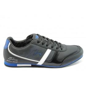 Спортни мъжки обувки - висококачествена еко-кожа - черни - EO-3464