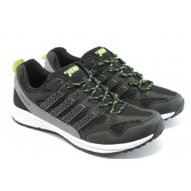Спортни мъжки обувки - еко-кожа с текстил - черни - EO-3461