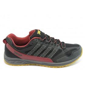 Спортни мъжки обувки - еко-кожа с текстил - червени - EO-3465