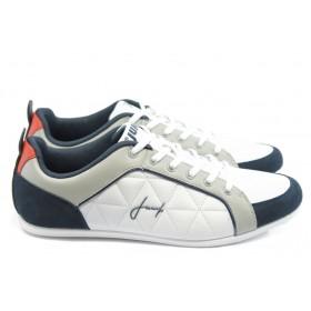 Спортни мъжки обувки - еко-кожа - бели - EO-3505