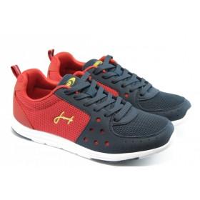 Спортни мъжки обувки - еко-кожа с текстил - сини - EO-3297
