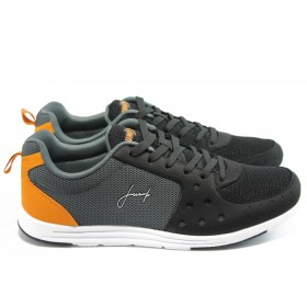Спортни мъжки обувки - висококачествен текстилен материал - черни - EO-3538